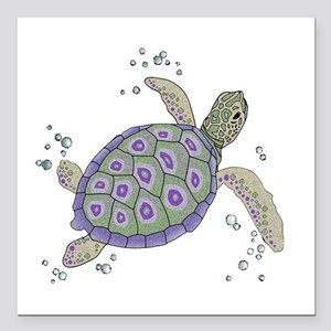"Swimming Sea Turtle Square Car Magnet 3"" x 3"""