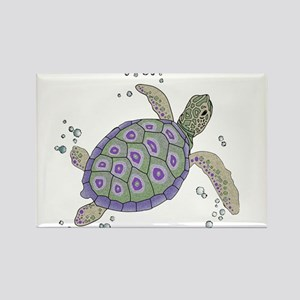 Swimming Sea Turtle Rectangle Magnet