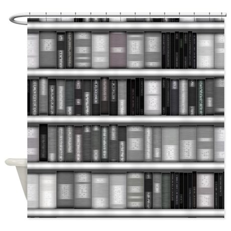 Modern Bookshelf Shower Curtain