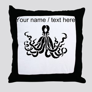 Personalized Black Octopus Throw Pillow