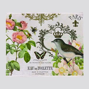 Vintage French shabby chic bird with crown Throw B