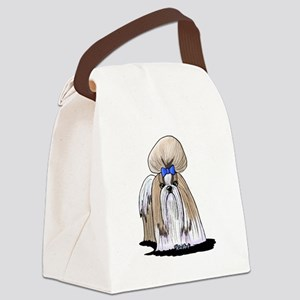 KiniArt Shih Tzu Blue Canvas Lunch Bag
