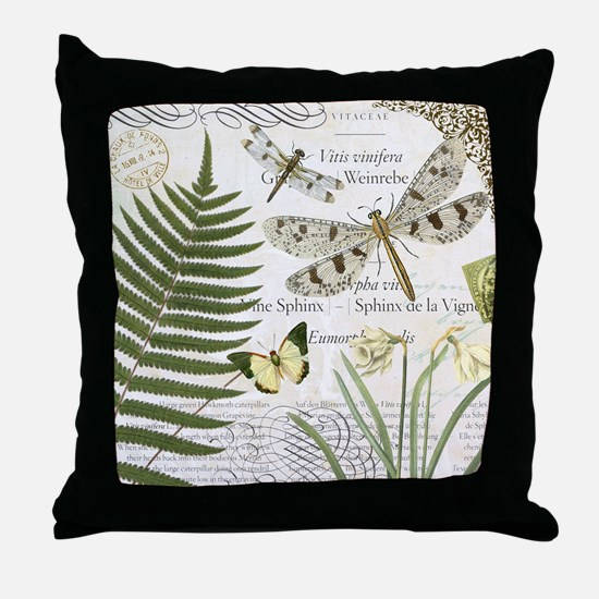 Vintage French dragonflies Throw Pillow
