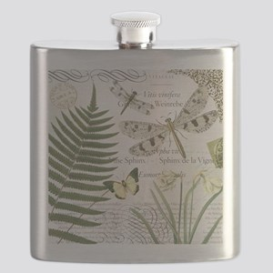 Vintage French dragonflies Flask