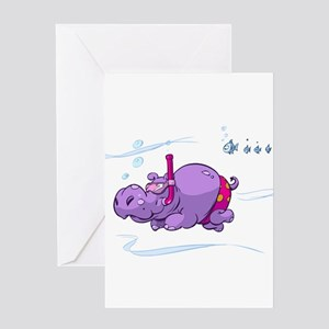 Snorkeling Hippo Greeting Card