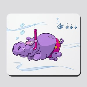 Snorkeling Hippo Mousepad