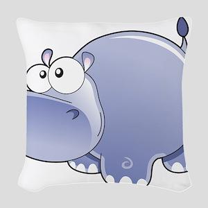 Happy Hippo Woven Throw Pillow