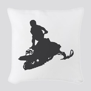 Snowmobile - Snowmobiling Woven Throw Pillow