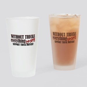 Trucker Support Drinking Glass
