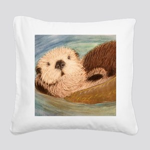 Sea Otter--Endangered Species Square Canvas Pillow