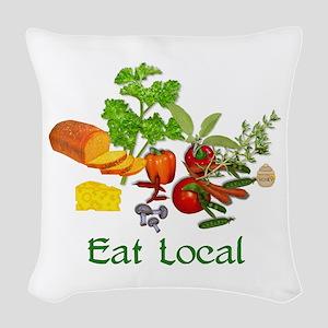 Eat Local Grown Produce Woven Throw Pillow