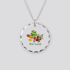 Eat Local Grown Produce Necklace Circle Charm