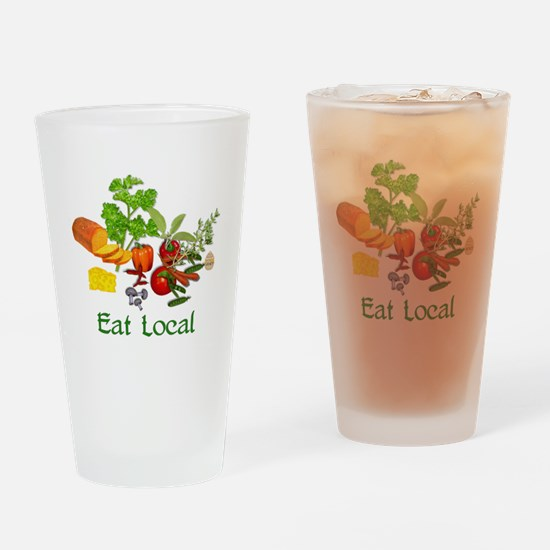 Eat Local Grown Produce Drinking Glass
