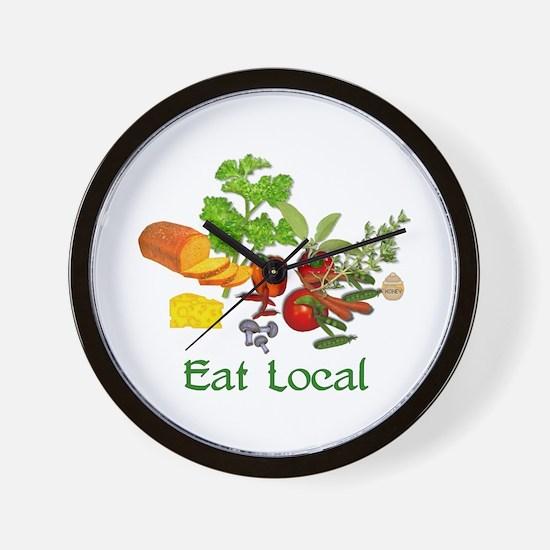 Eat Local Grown Produce Wall Clock