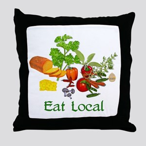 Eat Local Grown Produce Throw Pillow