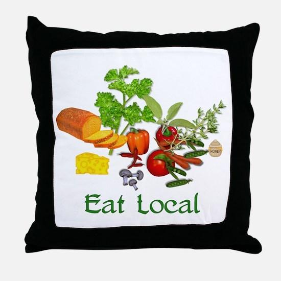 Eat Local Grown Produce Throw Pillow