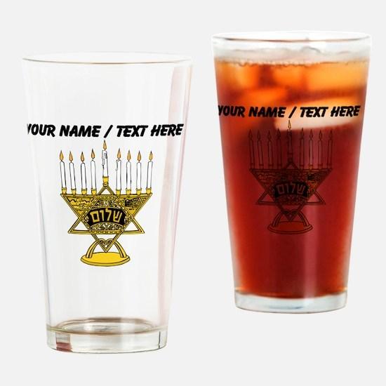 Personalized Star Of David Menorah Drinking Glass