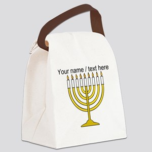 Personalized Menorah Candle Canvas Lunch Bag