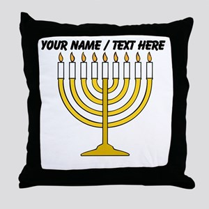 Personalized Menorah Candle Throw Pillow