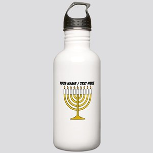 Personalized Menorah Candle Water Bottle