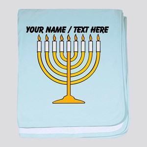 Personalized Menorah Candle baby blanket