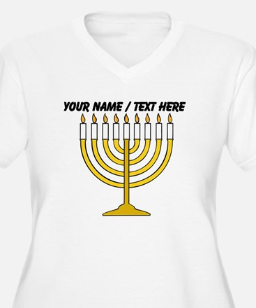 Personalized Menorah Candle Plus Size T-Shirt