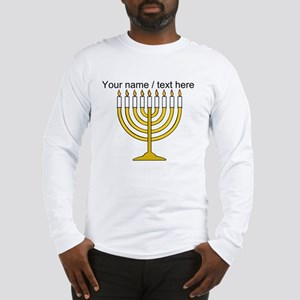 Personalized Menorah Candle Long Sleeve T-Shirt