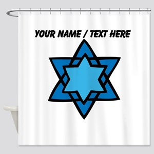 Personalized Blue Star Of David Shower Curtain