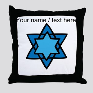 Personalized Blue Star Of David Throw Pillow