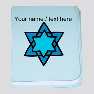 Personalized Blue Star Of David baby blanket