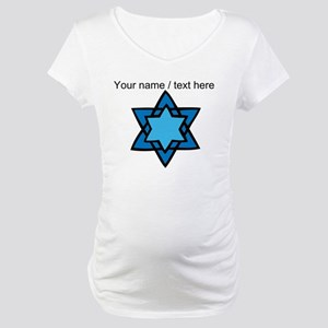 Personalized Blue Star Of David Maternity T-Shirt