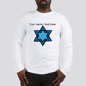 Personalized Blue Star Of David Long Sleeve T-Shir