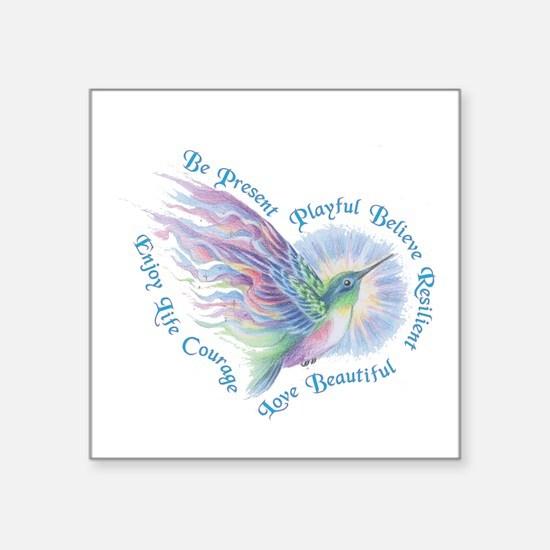 Hummingbird Heart Art Sticker
