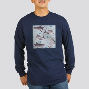 Sharks Swimming Long Sleeve Dark T-Shirt