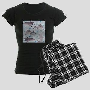 Sharks Swimming Women's Dark Pajamas