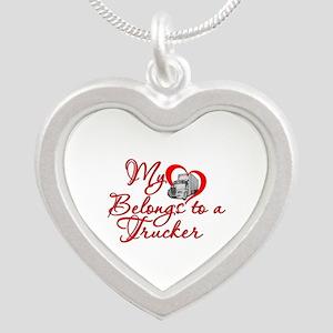 My Heart Belongs to a Trucker Silver Heart Necklac