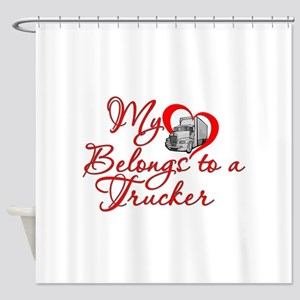 My Heart Belongs to a Trucker Shower Curtain