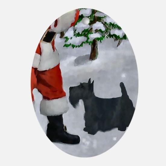Scottish Terrier Christmas Oval Ornament