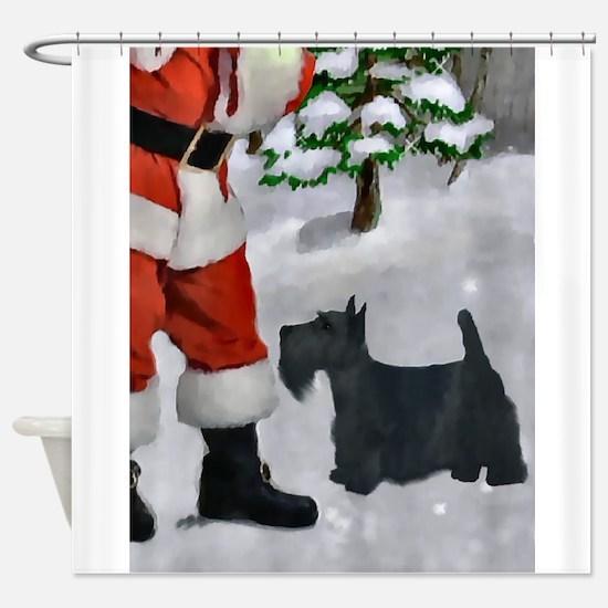 Scottish Terrier Christmas Shower Curtain