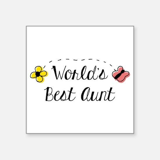 """World's Best Aunt Square Sticker 3"""" x 3"""""""