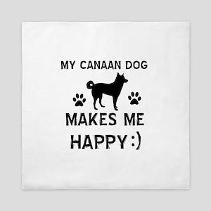 My Canaan dog makes me happy Queen Duvet