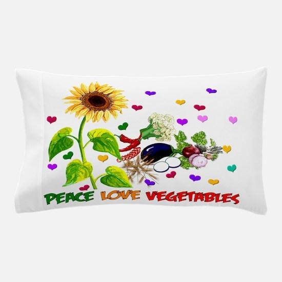Peace Love Vegetables Pillow Case