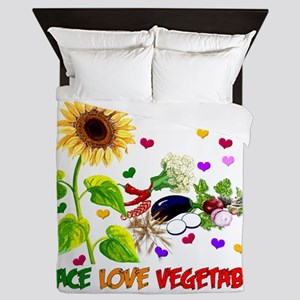 Peace Love Vegetables Queen Duvet