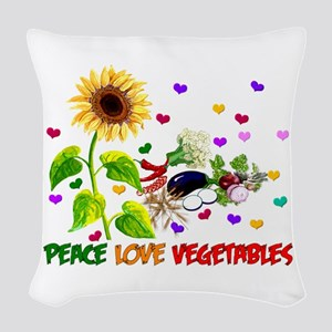 Peace Love Vegetables Woven Throw Pillow