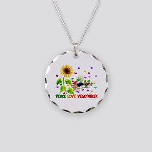 Peace Love Vegetables Necklace Circle Charm