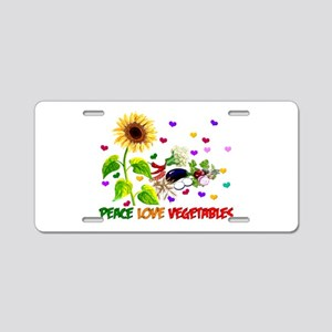 Peace Love Vegetables Aluminum License Plate
