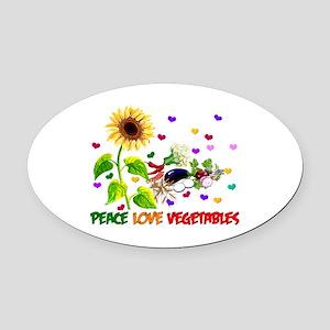 Peace Love Vegetables Oval Car Magnet