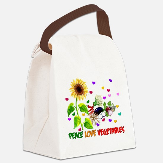 Peace Love Vegetables Canvas Lunch Bag