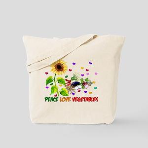Peace Love Vegetables Tote Bag