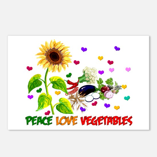 Peace Love Vegetables Postcards (Package of 8)